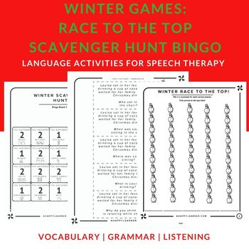 Winter Games for Speech Therapy | Vocabulary, Grammar, Listening Comprehension
