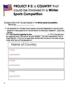 Winter Sports Competition Project- Classwork/Homework Language Arts