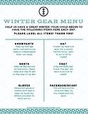 Winter Gear Menu