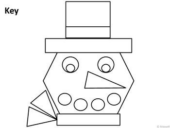 Winter Geometric Snowman Face 2D Shapes