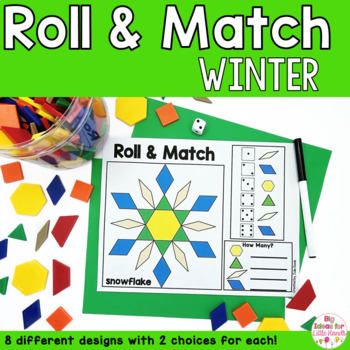 Winter Geometry Pattern Blocks Mat Roll and Match Game