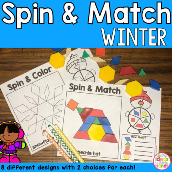 Winter Geometry Pattern Blocks Mat Spin and Match Game