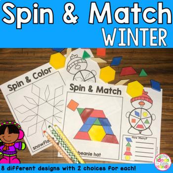 Winter Pattern Blocks Mat Math Center