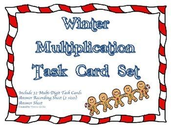 Winter Gingerbread Man Multiplication Game Intermediate 2-Digit by 1-Digit