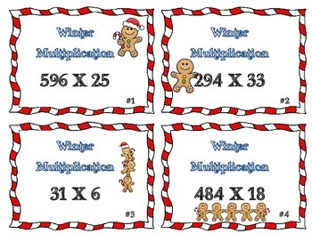 Winter Gingerbread Man Multiplication Task Card Set Advanced 3-digit by 2-digit