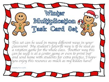 Winter Gingerbread Man Multiplication Task Card Set Advanced 3-digit by 2-digit