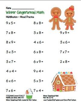 """Winter Gingerbread Math"" Mixed Multiplication - Common Core Fun (color version)"