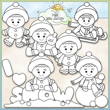 Winter Gingers Clip Art - Gingerbread Clip Art - Clip Art & B&W