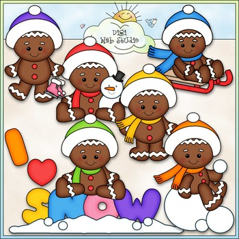 Winter Gingers Clip Art - Gingerbread Clip Art - Clip Art & B&W
