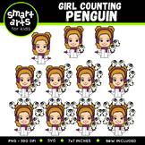 Winter Girl Counting Penguin Clip Art