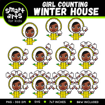 Winter Girl Counting Winter House Clip Art