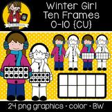 Winter Girl Ten Frames {Graphics for Commercial Use}