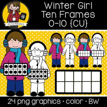 Winter Girl Ten Frames {Graphics for Commercial Use}