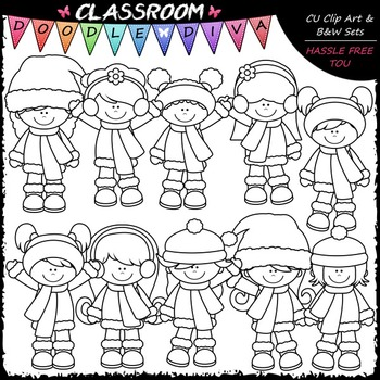 Winter Girls Clip Art - Winter Kids Clip Art