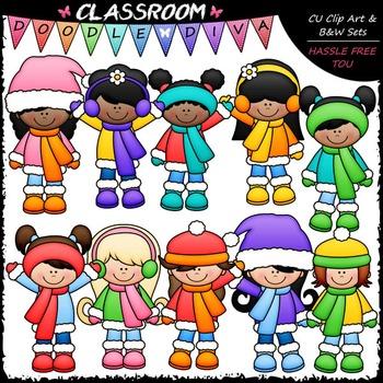 Winter Girls Clip Art - Winter Kids Clip Art