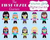 Winter Girls {Digital Clip Art} Ice Skating