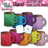 Winter Glitter Hot Chocolate Mugs and Marshmallows Clip Art