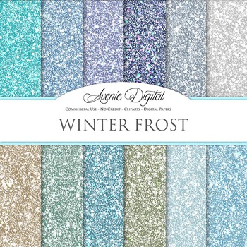 Winter Glitter Textures Background Digital Paper scrapbook blue silver gray