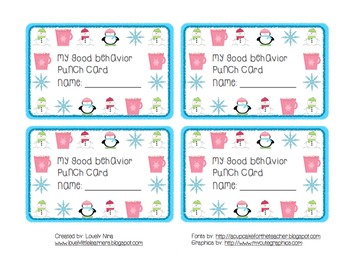 Winter Good Behavior Punch Card