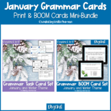 Winter Grammar Print Task Cards & BOOM Cards BUNDLE Distan