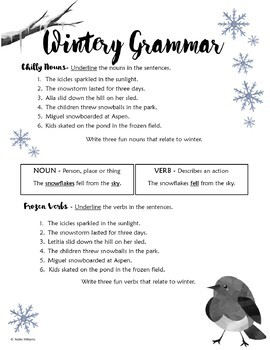 Parts of Speech / Grammar Review - Winter Theme