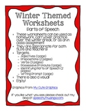 Winter Grammar Worksheets: Parts of Speech