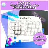 Winter Guided Grid Drawing: No Prep Visual Motor Integration Packet
