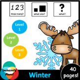Winter HOW MANY, WHAT SIZE, WHAT? Adapted book Level 1, Le