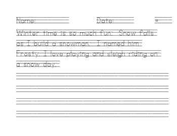 Winter Handwriting Book