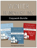 Winter Handwriting Copywork Bundle Print/Cursive