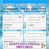 Winter Handwriting Pack - Print and Cursive Writing