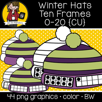 Winter Hat Ten Frames {Graphics for Commercial Use}
