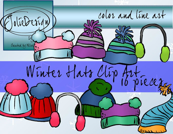 Winter Hats Clipart - Color and Line Art 16 Piece Set