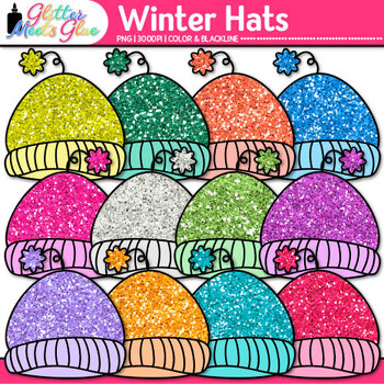 Winter Hat Clip Art | Rainbow Glitter Caps for Digital Resources & Scrapbooking
