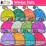 Winter Hat Clip Art {Rainbow Glitter Caps for Digital Reso