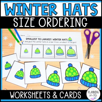 Winter Hats - From Smallest to Largest and Size Comparing Cards
