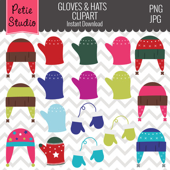 Winter Hats and Gloves // Winter Clothing Clipart // Winte