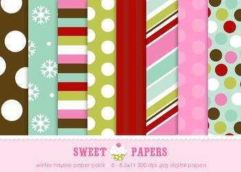 Winter Haylee Digital Paper Pack - by Sweet Papers