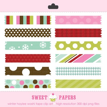 Winter Haylee Washi Tape Digital Clip Art Set - by Sweet Papers
