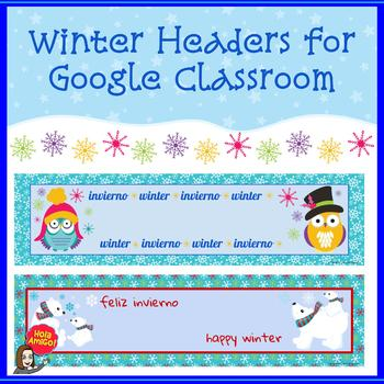 Winter Headers (2) for Google Classroom