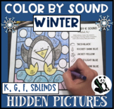 Winter Hidden Pictures Color by Sound for K, G, F, & SBLENDS
