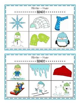 Winter - Hiver BINGO GAME (English & French)