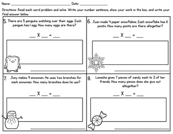 Winter Holiday 1-Step Multiplication Word Problems