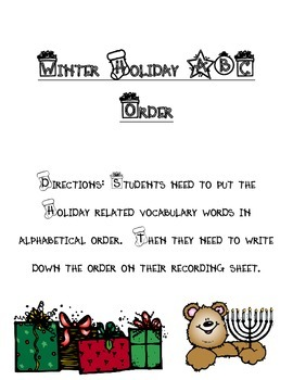Winter Holiday ABC Order