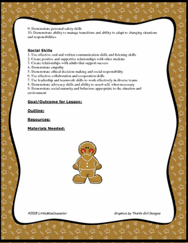 Winter Holiday ASCA Lesson Plan Templates Editable