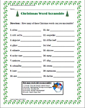 Satisfactory image for christmas word scramble printable