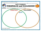 Winter Holiday Activity Pack - Christmas vs. Halloween Venn Diagram Activity