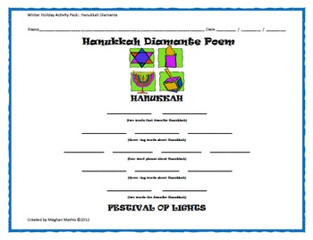 Winter Holiday Activity Pack - Hanukkah Diamante Poem Activity