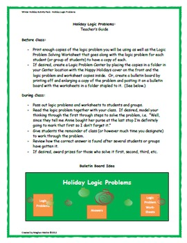 Winter Holiday Activity Pack - Happy Holidays Logic Puzzles