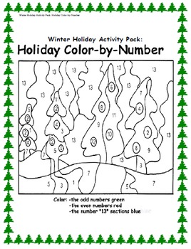 Winter Holiday Activity Pack - Holiday Color-By-Number